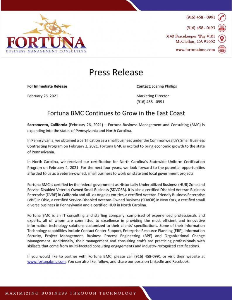 Press Release about Growth on East Coast