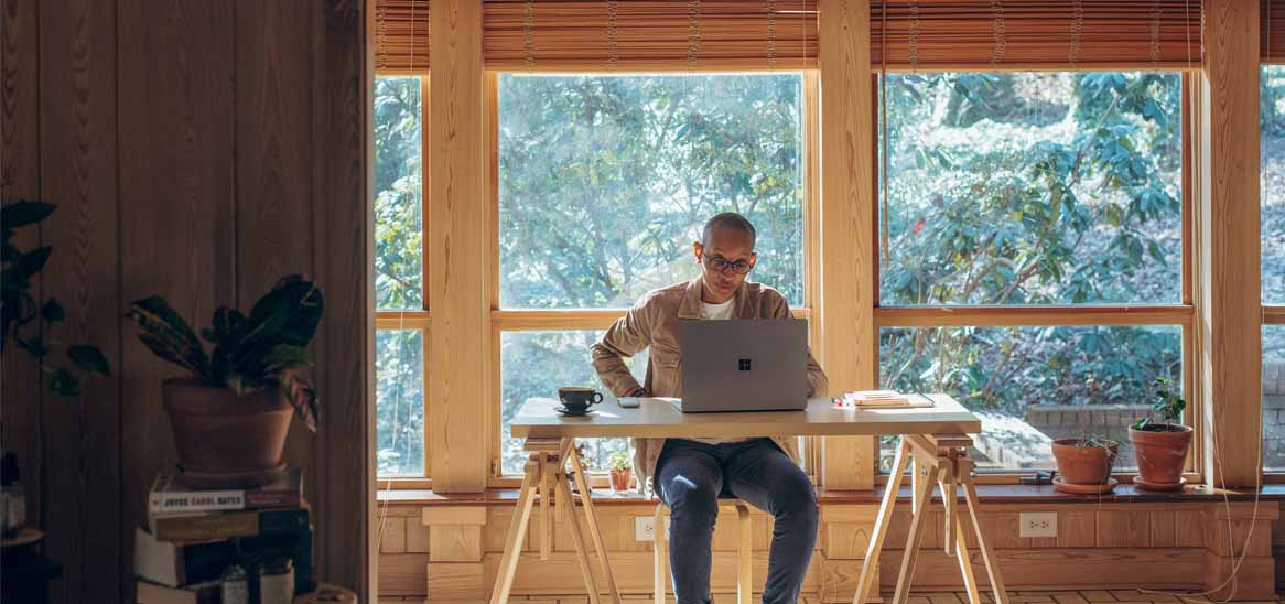 Employee with remote work setup